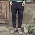 Mens denim splice casual calças 2017 primavera inverno moda solto hip hop harem pant marca machos soltos calças K137