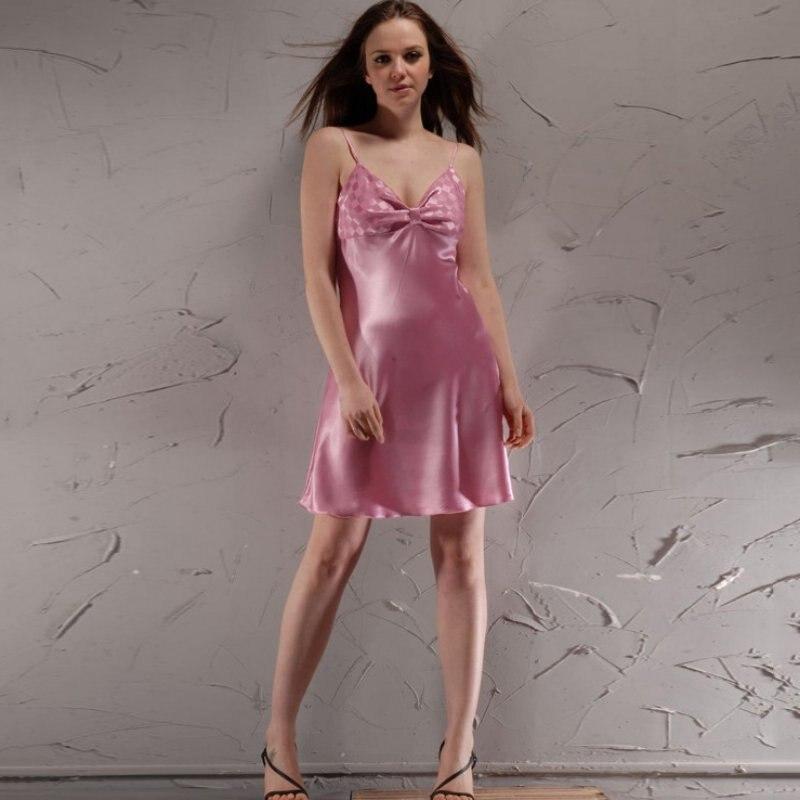 Ladies Silk Satin Night Dress Sleeveless Nighties Sexy V-neck Nightgown Sleepwear Nightwear