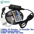 5 M RGB Impermeable luz de Tira Llevada 5050 LOS 60LED/M DC12V Luz LED + 44 Teclas Del Controlador Remoto + 12 V 6A Adaptador de Alimentación conjunto