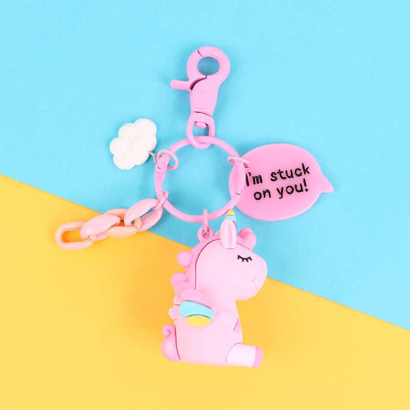 Creative Rainbow Unicorn Animal Em Forma de PVC Pingente Chaveiro para Mulheres Dos Homens Saco Do Telefone Pingente Carro Chaveiro Porte Clef Chaveiro