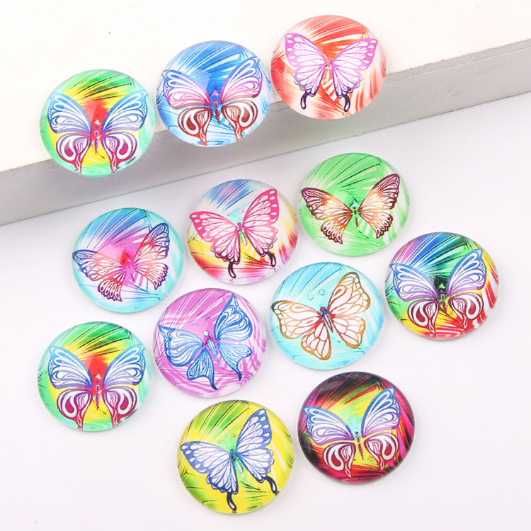 reidgaller mix color butterfly image round dome jewelry glass cabochon 12mm 18mm 20mm 25mm diy earrings pendant components