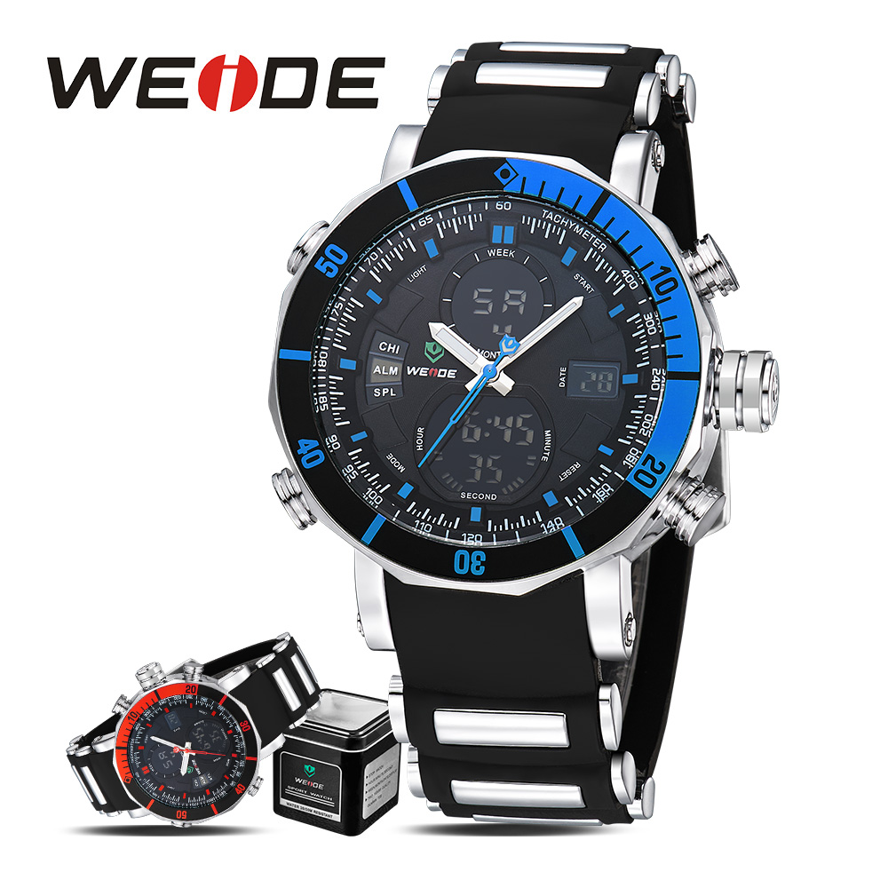 WEIDE quartz sports wrist watches casual genuine watch sport LCD digital silicon  watches military analog  waterproof clock splendid brand new boys girls students time clock electronic digital lcd wrist sport watch