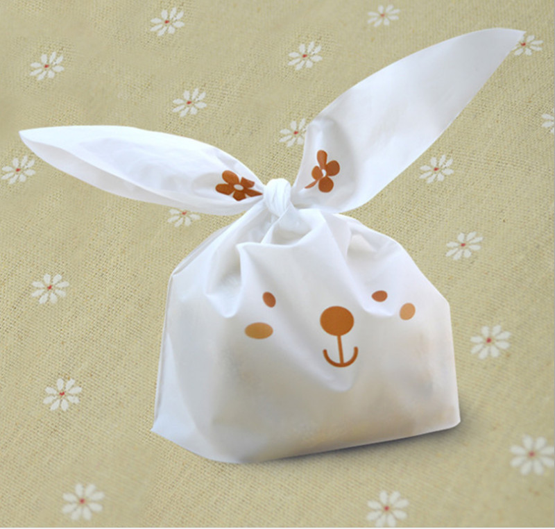 20 Pieces Lot Cute Rabbit Cookie Packaging Bag Small Plastic Bags For Biscuits Gift In Wring Supplies From Home Garden On