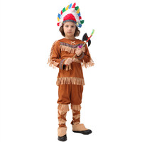 High Quality Coffee Indian Costume For Boys Native American Indian Costume Indian National Costume Halloween Clothes