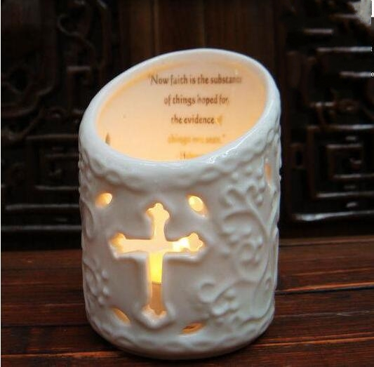10 6cm ceramic Catholic European Embossed Pattern Plated Candlestick Christian Gifts home decoration cross Process 1pc A397 in Candle Holders from Home Garden