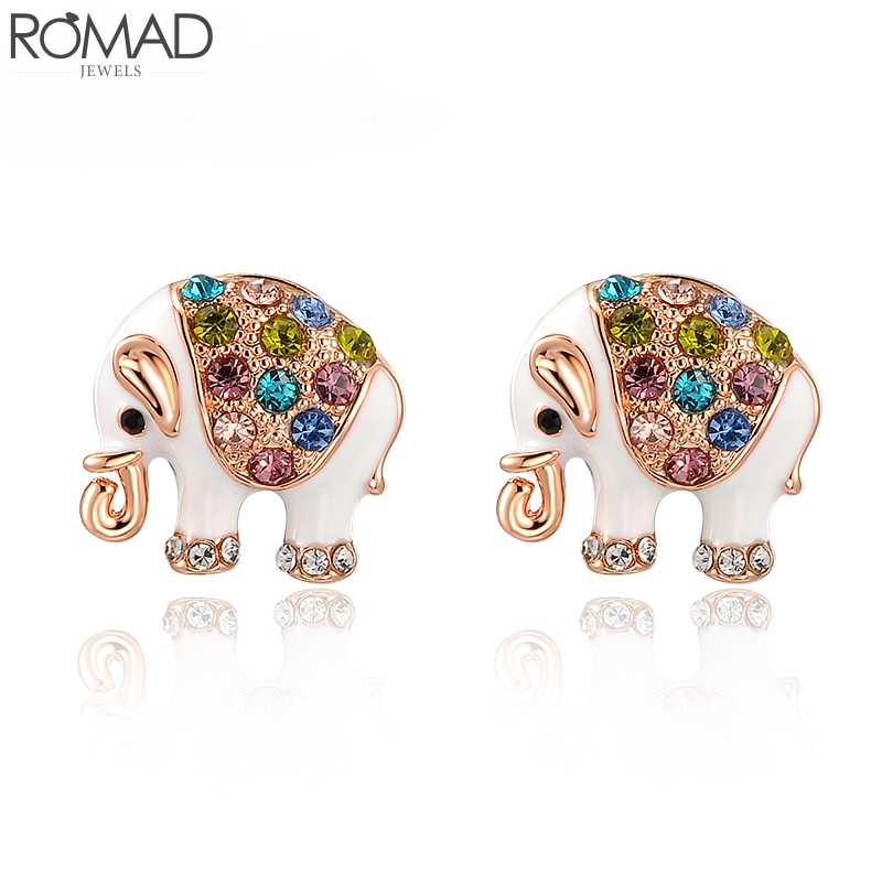 ROMAD Elephant Necklace Women Rose Gold Zircon Necklace Wedding Elephant Pendant Necklaces Animal Chokers Necklace Girl Colar R5 in Pendant Necklaces from Jewelry Accessories