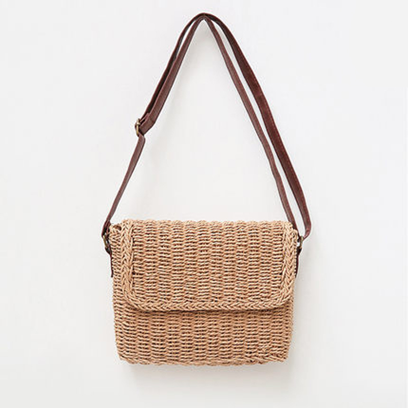Beige Brown Ladies Shoulder Handmade Exquisite Straw Bag Mini Woven Flip Sweet Pastoral Girls Bag