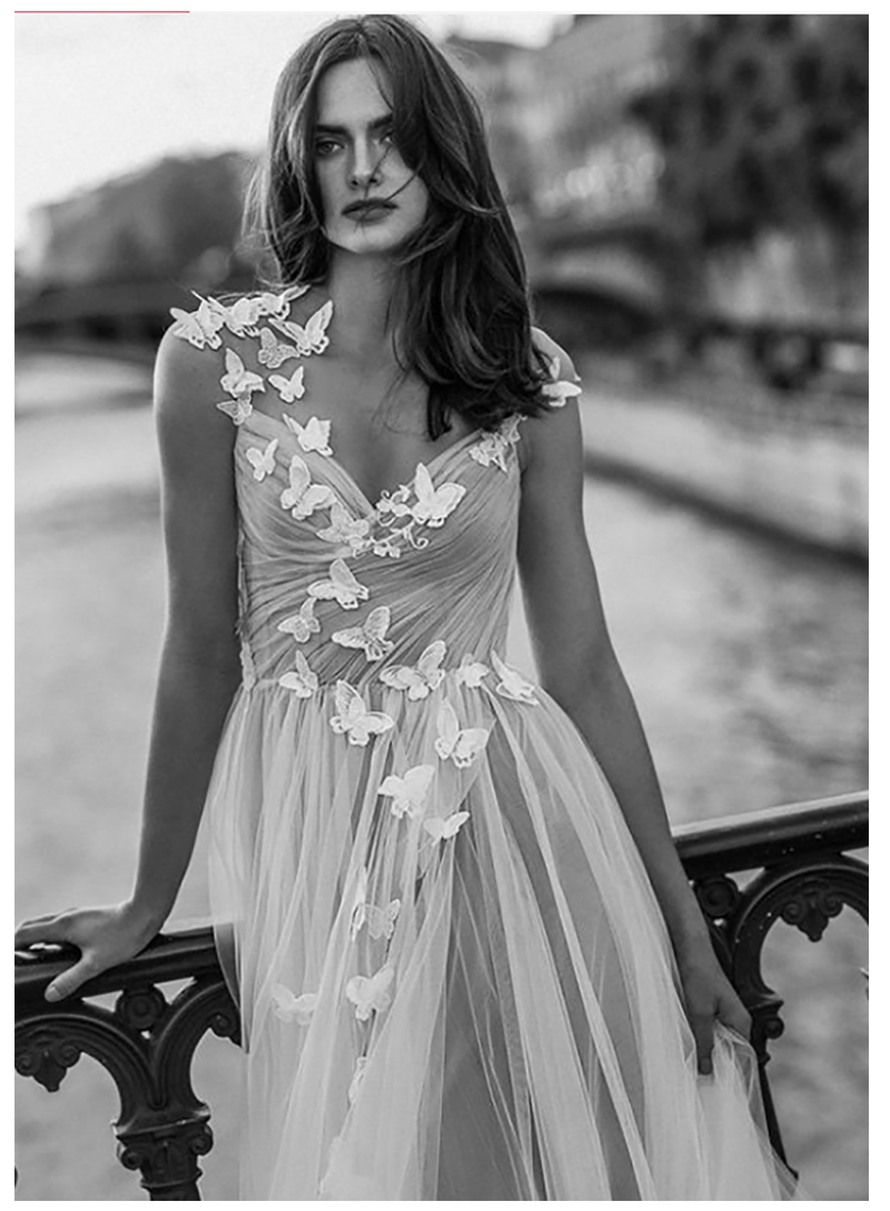 Boho Wedding Dress 2019 3D Flowers butterfly Beach Bride Dresses Illusion Back Puff Tulle Wedding Gowns Backless Floor Length