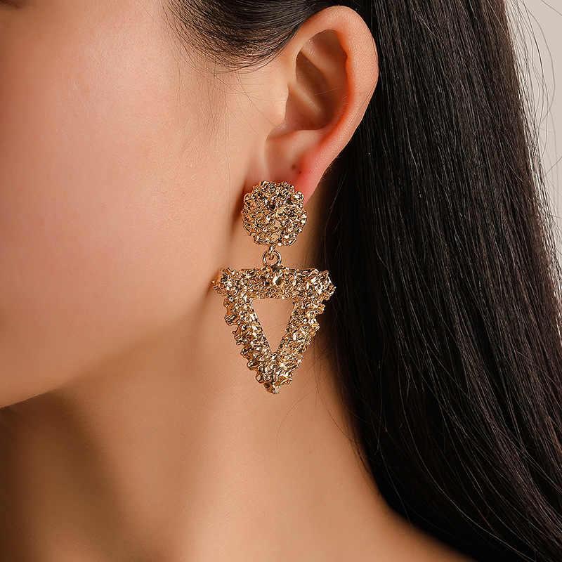 Pendientes geométricos minimalistas para mujer moda Simple triángulo de Metal cuadrado chica oreja accesorios de joyería femenina
