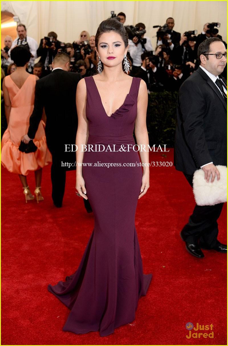 Selena Gomez Grape Prom Dress MET Gala 2014 Red Carpet (2)