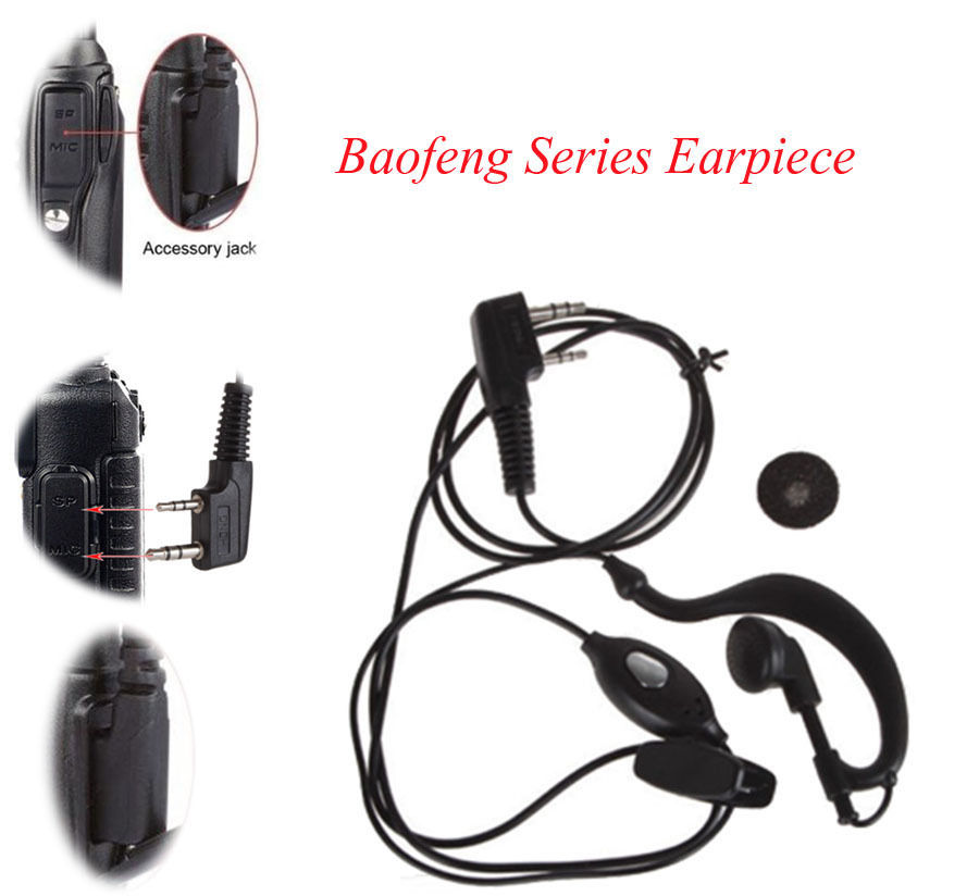 Accessories-Walkie Talkie Ear Hook Interphone Earphone 2 PIN Earpiece PTT With Microphone For BAOFENG UV5R Plus BF-888S