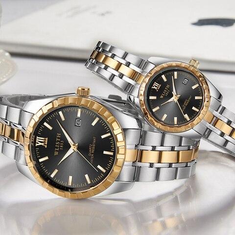 Fashion Women Watches Men Watch Luxury Gold Couple Watch Lover Sweet Waterproof Stainless Steel Clock relogio masculino reloj Multan