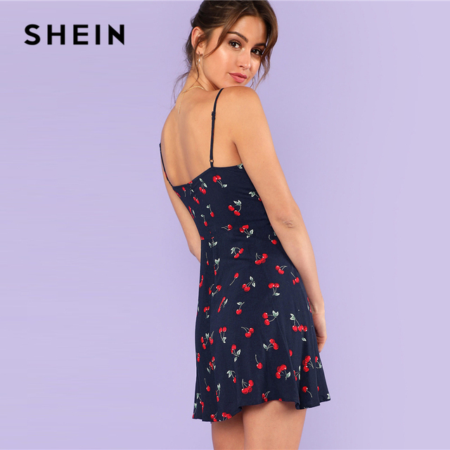SHEIN Multicolor Weekend Casual Allover Cherry Print Natural Waist Short Spaghetti Strap Cami Dress Summer Women Going Out Dress 4