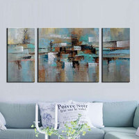 Modern Canvas Oil Painting Hand Painted Abstract Gray Green Wall Pictures 3 Panels Canvas Art Group