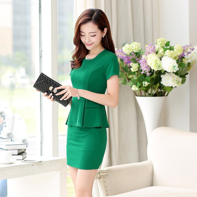 f39abc54f9af Summer Formal Green Blazeer Women Business Suits 2 Pieces Skirt and Jacket  Sets Elegant Ladies Beauty