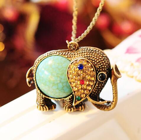 Vintage Bronze Elephant Rhinestone Necklace Choker Collar Statement Necklace Pendant DIY Jewelry Women Gifts Accessories B