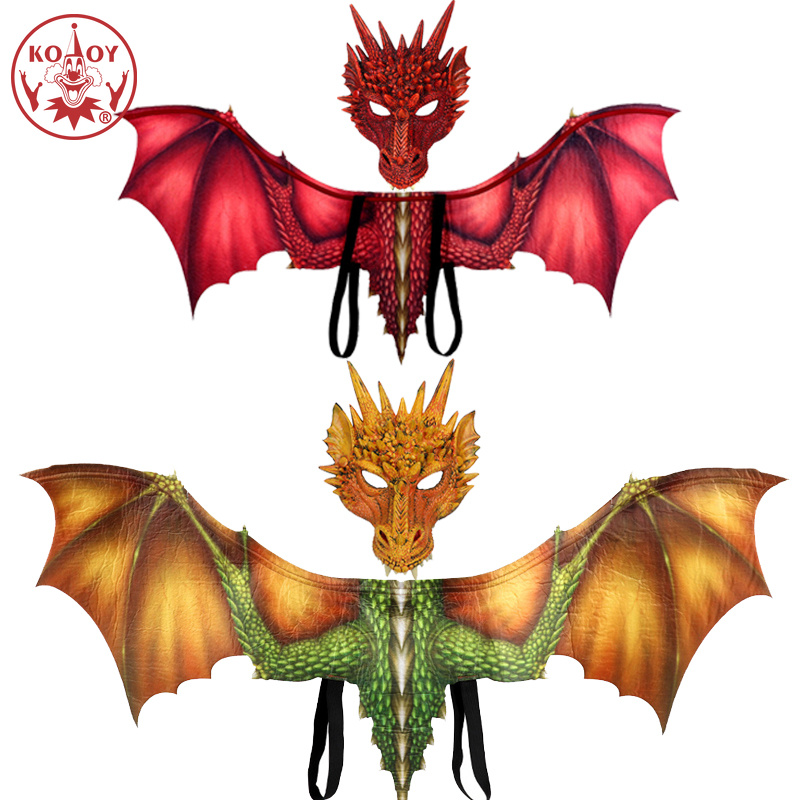 New Dragon wing mask Dinosaur cosplay costume Adult halloween costumes for women men adult Dinosaurio latex masks Carnival Party