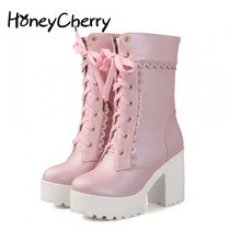 White Black Students Soft Sister Lolita High-heeled Boots Co