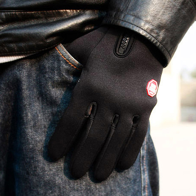Men Women Windproof Leather Fleece Full Finger Thermal MTB Bike Bicycle Gloves Outdoor Sports Cycling Skiing Hand Warmer