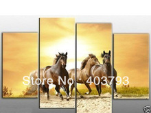 buy at disscount price 4PC horses running modern art wall decoration oil painting no framed  free shipping