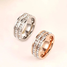 ФОТО  Top  Famous  Carter rings for women titanium stainless steel rings steel rose gold rings with two line stones