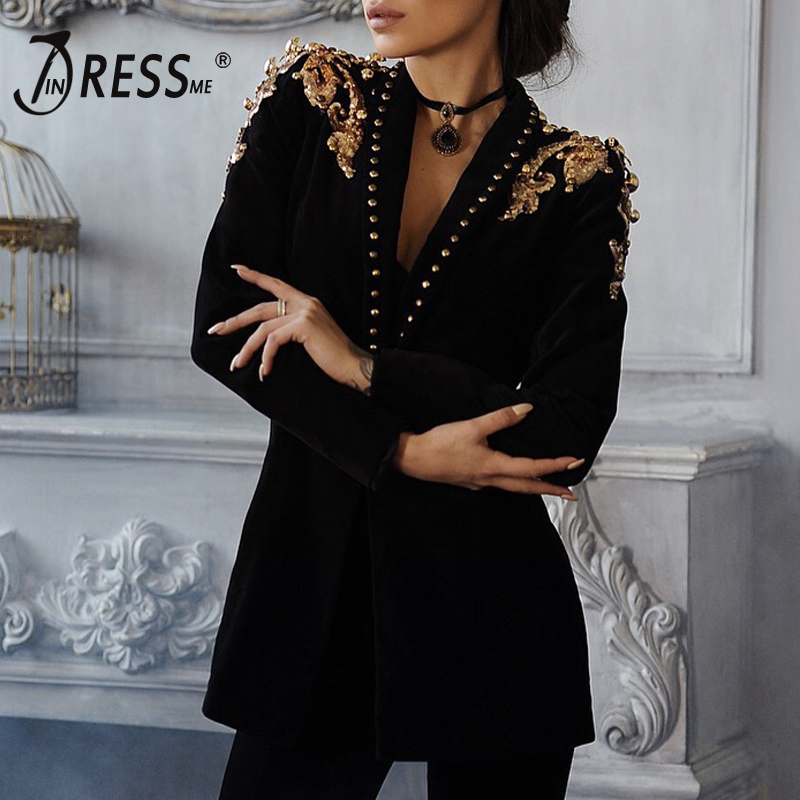 INDRESSME Women 2019 New Fashion Women Formal Suits Long Sleeve V Neck Sexy Rivet Metallica Epaulet Jacket Coat Sequined Outwear
