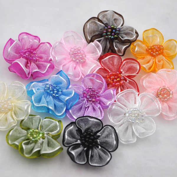 Upick 20 pcs Organza ribbon flowers bows W/beads Appliques Craft Wedding Dec A008