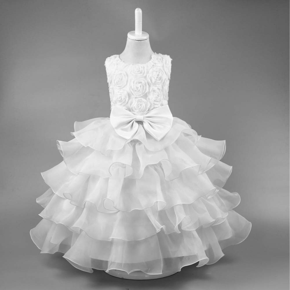Formal Baby Girl Dress Kids Wedding Gowns White Tulle Ballroom Dresses For Girls Toddler Birthday Party Princess Dress 3-10 Year summer kids girls lace princess dress toddler baby girl dresses for party and wedding flower children clothing age 10 formal