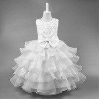 Formal vestido niña vestidos de novia blanco tulle Salón Vestidos para Niñas niño fiesta de cumpleaños princesa vestido 3- 10 año