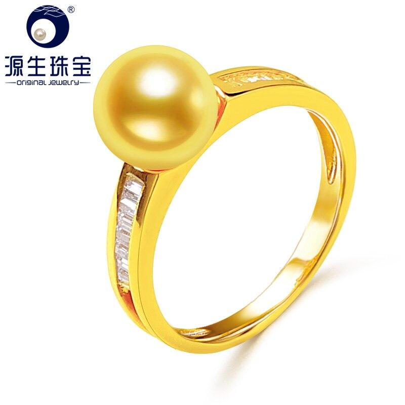 [YS] 14 k perle de mariage bijoux bague 7.5-8mm japonais Akoya perle anneau