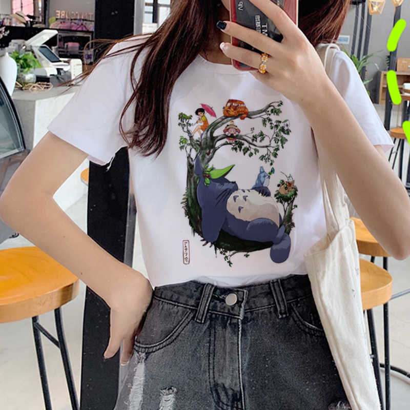 Kawaii Totoro Harajuku T Hemd Frauen Studio Ghibli Nette Cartoon T-shirt Ullzang 90s Lustige T-shirt Mode Graphic Top Tees weibliche