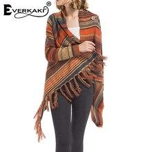 Everkaki Boho замшевые куртки пальто для женщин Цыганская шаль Плюс размер теплые этнические пальто с длинными рукавами женские Осень Зима Новинка