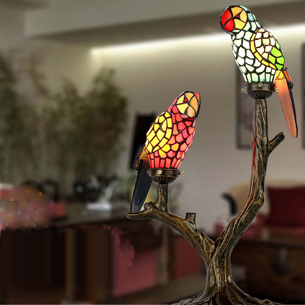 China red glass table lamp china glass table lamp - Led E14 Tiffany Iron Glass Parrot Led Lamp Led Light Table Light Table