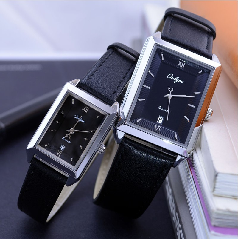 Ultra-thin Calendar Belt Waterproof Men And Women Korean Style Rectangular Lady Quartz Couple Watch With Leather Watchbelt