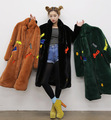 2016 NEW fashion Long Warm Winter Faux Fur Coat Ladies long sleeve Army Green Yellow Embroidery Letter Outwear Female coat