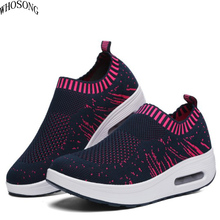 цена 2019 Spring new women's shoes mesh 3D fly woven breathable sports leisure shoes high air cushion single shoes Casual Shoes M156