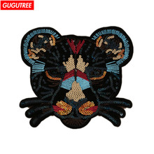 GUGUTREE paillette patches embroidery big tiger patches,large back patch,heart eye badges for jackets