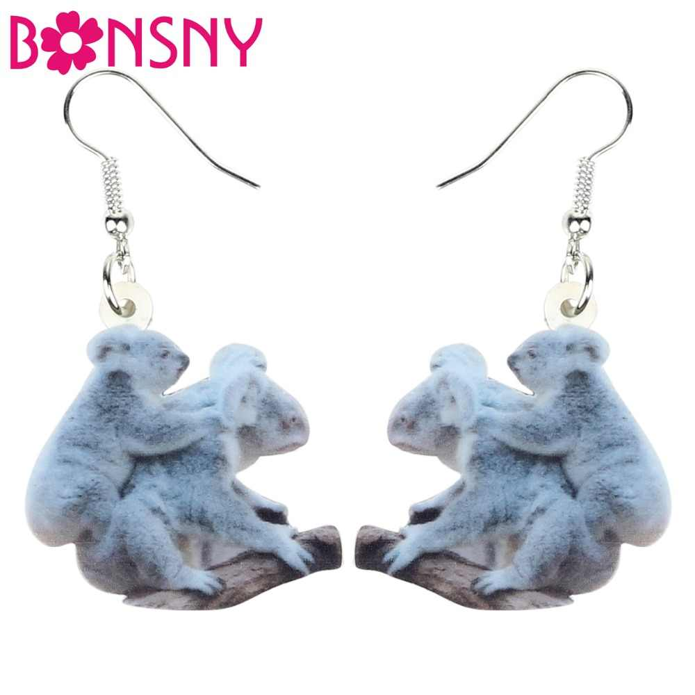 Bonsny Acrylic Cartoon Mom Baby Koala Bear Earrings Drop Dangle Big Long Australian Animal Jewelry For Women Girls Teens Charms