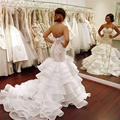 Mermaid Wedding Dresses Plus Size 2016 Sweetheart White Tiered Sleeveless Tiered Court Train Organza Cheap Custom Bridal Gowns