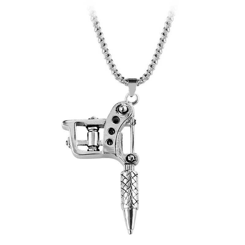 Tattoo Machine Tool Pendant Necklace Punk Vintage Necklace For Women & Men Hip Hop Rock Gift Jewelry Choker Necklace