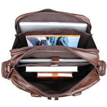 Men's genuine briefcase 16″ Big real Cow leather business bag