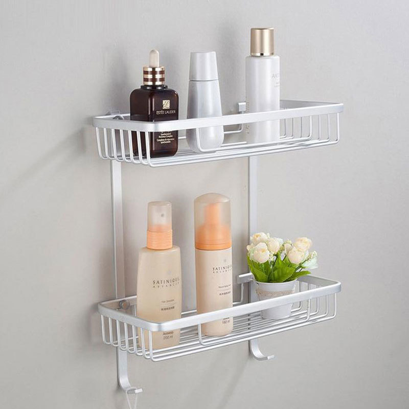 1 Pcs Two Layer Bathroom Shelves / Rack Space Aluminum Wall Towel Washing Shower Basket Bar Shelf / bathroom accessories 801916 thick aluminum 3 layer bathroom corner shelf wall washing shower basket shelves storage with hooks bathroom accessories 8115a16