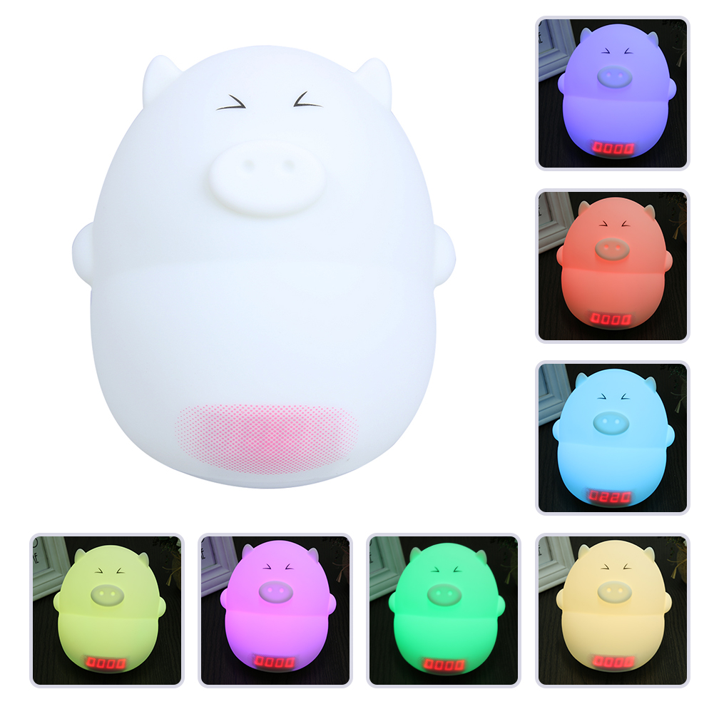 Colorful Lovely Pig Silicone LED Night Light Rechargeable Touch Sensor Light Children Cute Night Bedroom Lamp With Alarm Clock cartoon pig silica gel led colorful ombre night light