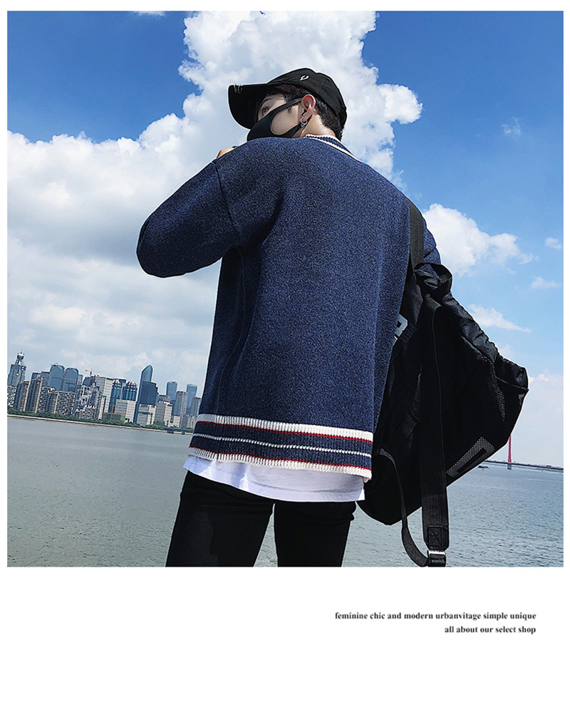 Check Button Cardigan Male Oversize Loose Streetwear (18)