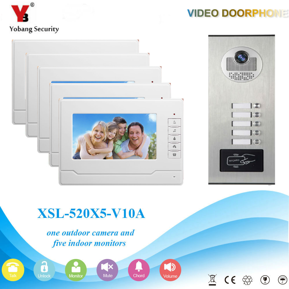 YobangSecurity 5 Unit Apartment RFID Access Control Video Intercom 7Inch Wired Video Door Phone Doorbell Intercom Camera System 7 inch password id card video door phone home access control system wired video intercome door bell