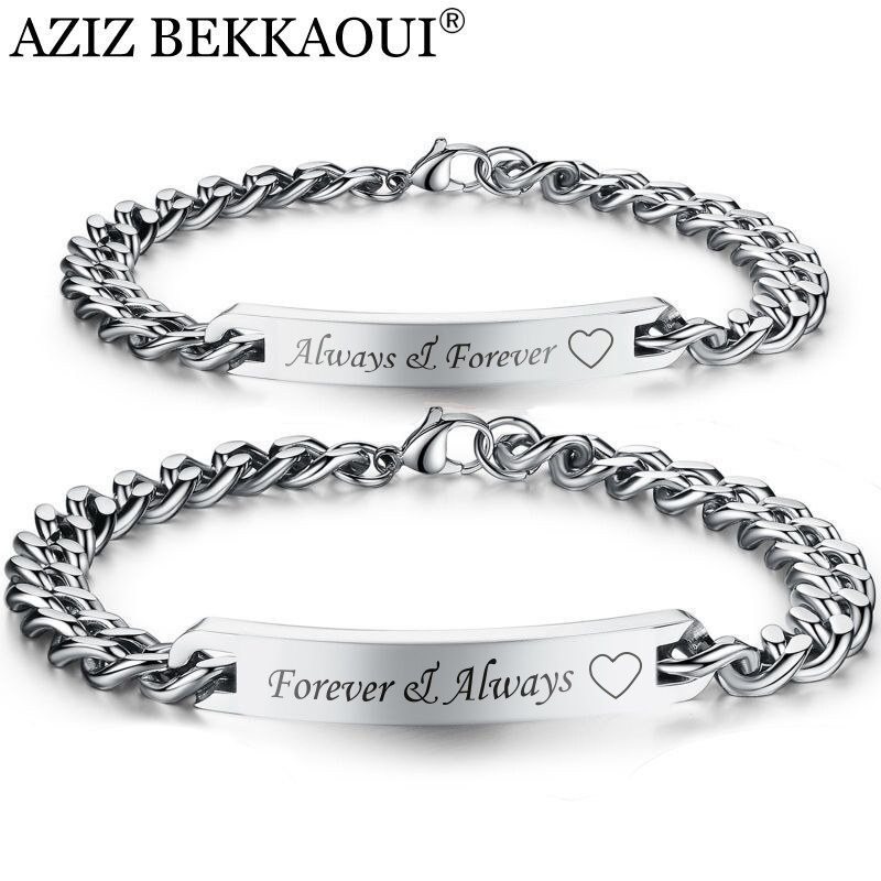 Drop Shipping Couple Bracelets Always & Forever Named Bracelets For Women Men Matching Couples Bracelets Diy Jewelry Link Chain