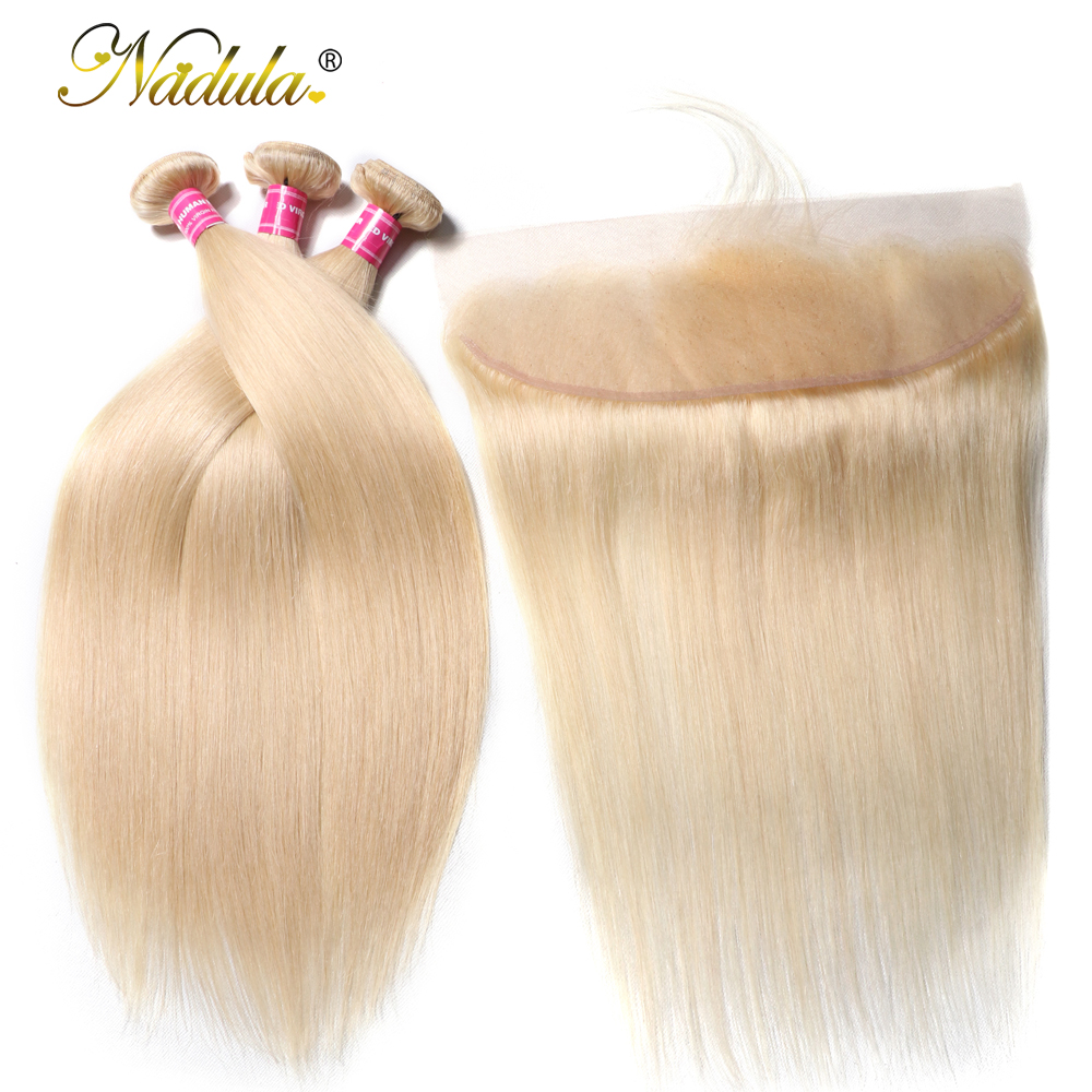 Nadula Hair 613 Blonde Bundles With Frontal 3 Bundles Straight Hair With Closure 13 4 Lace