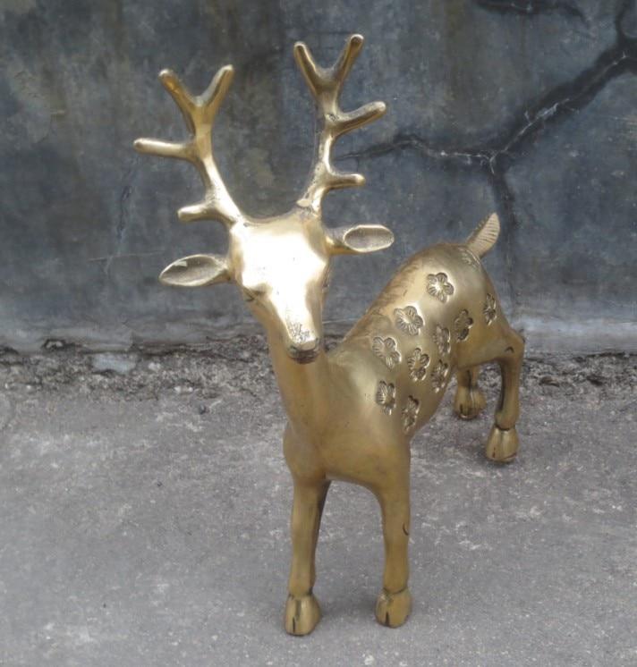 Metallo Artigianato Cinese intagliato a mano in ottone cervo grande scultura di TRASPORTO liberoMetallo Artigianato Cinese intagliato a mano in ottone cervo grande scultura di TRASPORTO libero