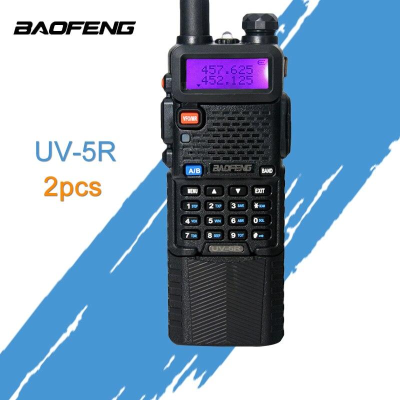 2 шт. Baofeng UV-5R 3800 мАч портативной рации 5 Вт Dual Band Портативный радио UHF 400-520 мГц УКВ 136-174 мГц УФ 5R двухстороннее радио Портативный