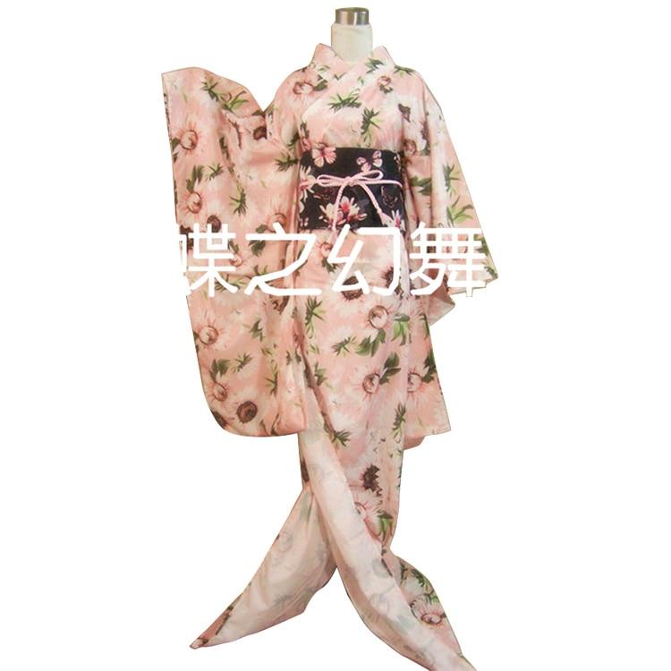 Kimono japonais Furisode femmes Floral Yukata Long Costume de Cosplay traditionnel